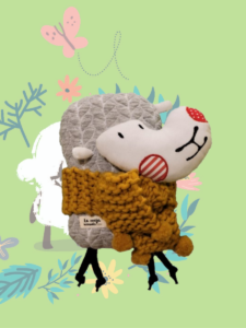 La oveja nómada con su bufanda para el Reto el mayor rebaño virtual del mundo-Las Hidalgas